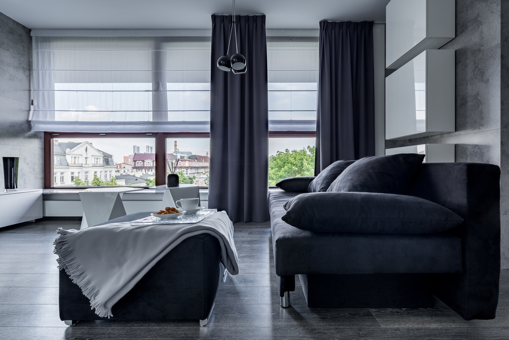 Gray couch and pouf
